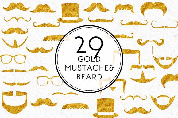 Gold Mustache And Beard