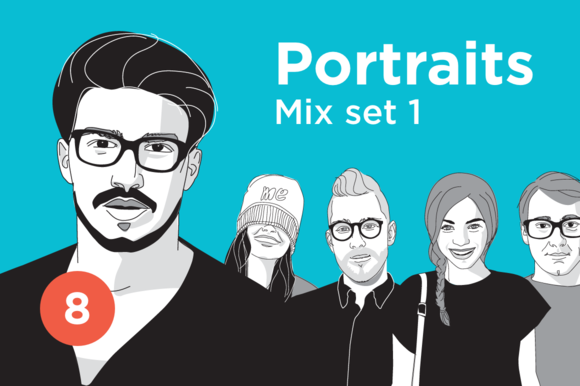 Portrait Illustrations Mix Set 1