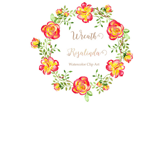Wreath Rosalinda Watercolor Clip Art