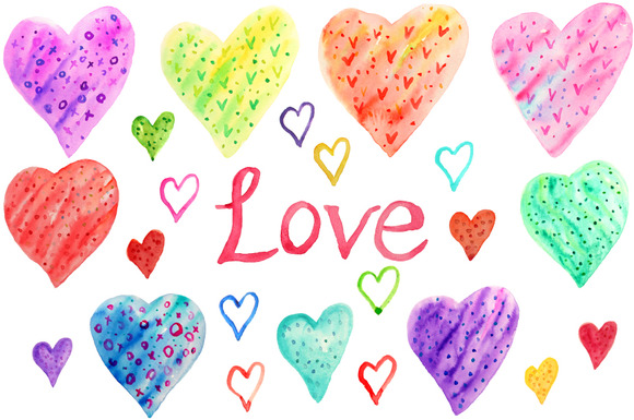 Hand Drawn Watercolor Heart Patterns