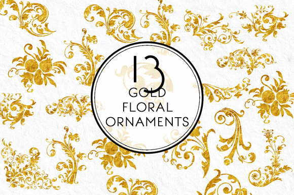 Gold Floral Ornaments