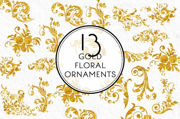 Gold Floral Ornaments