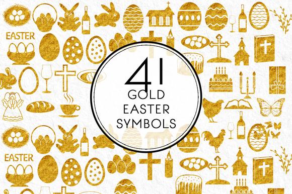 41 Gold Easter Symbols