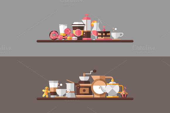 Coffee And Bakery Illustration