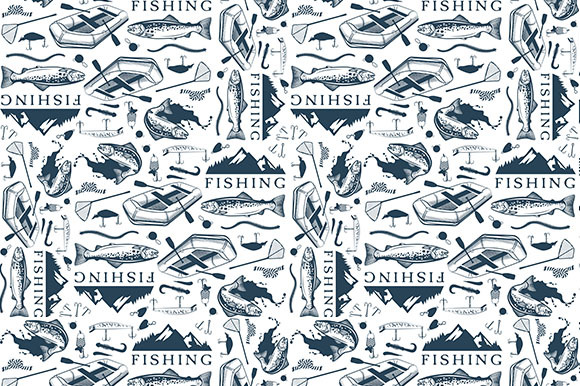 Pattern With Trout Fishing Emblems