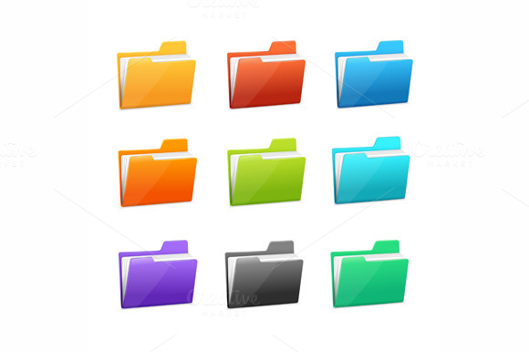 Vector Many Rainbow Folders Set