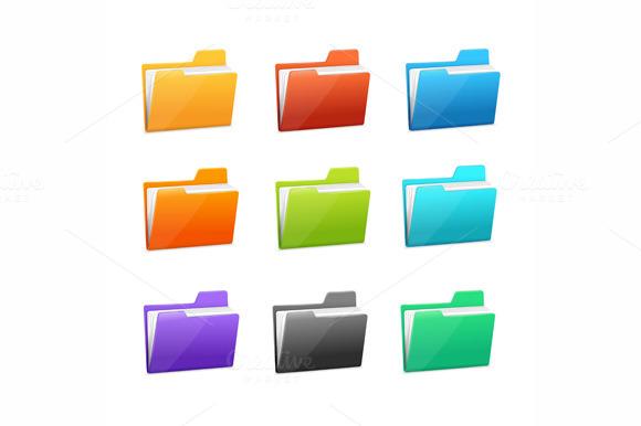 Vector Many Rainbow Folders Set