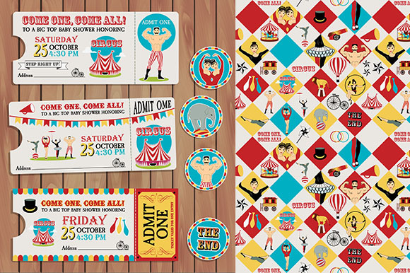 Circus Birthday Ticket Pattern