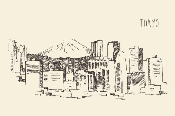 Города японии рисунки для