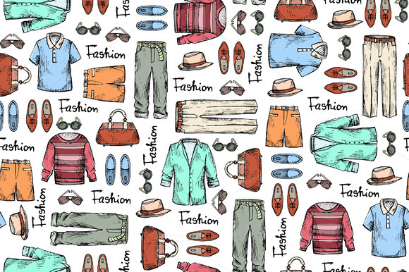 Pattern With Hand Drawn Men S Wear