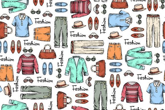 Pattern With Hand Drawn Men S Wear