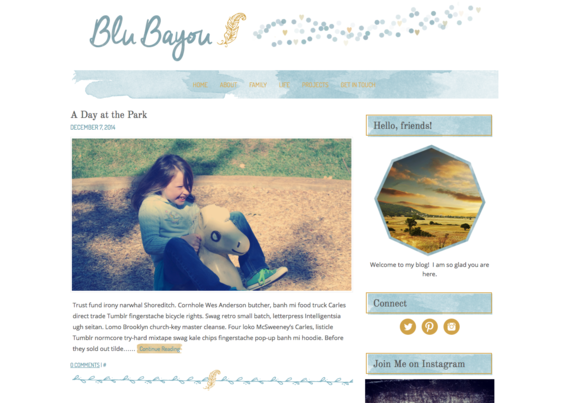 Blu Bayou Watercolor Wordpress Theme