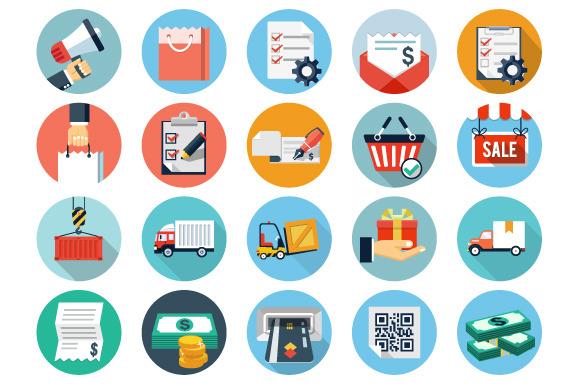 Ecommerce And Logistics Flat Icons
