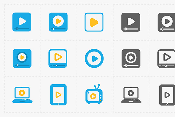 Vector Flat Video Player Icons