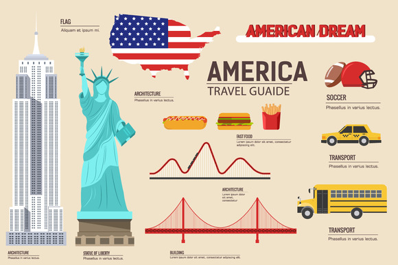 USA Country Flat Vector Icons Set