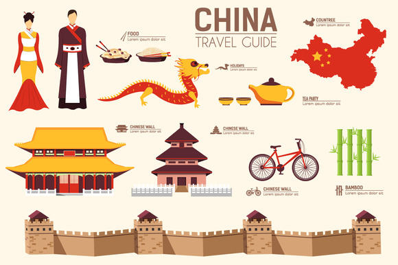 China Country Flat Vector Icons Set