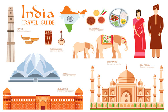 India Country Flat Vector Icons Set