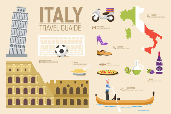 Italy Country Flat Vector Icons Set