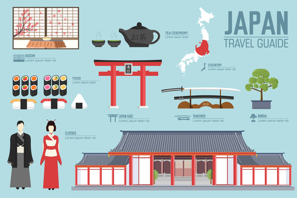 Japan Country Flat Vector Icons Set
