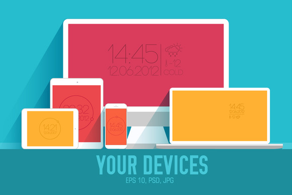 4 Vector Of Flat Personal Gadgets