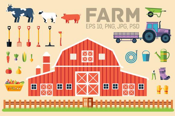 Flat Farm Agriculture Equipments Set