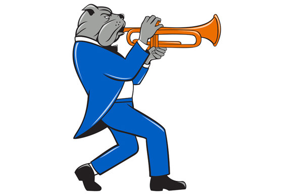 Bulldog Blowing Trumpet Side View Ca