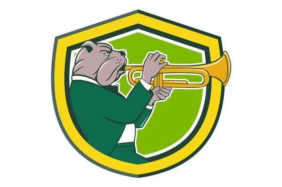 Bulldog Blowing Trumpet Side Shield