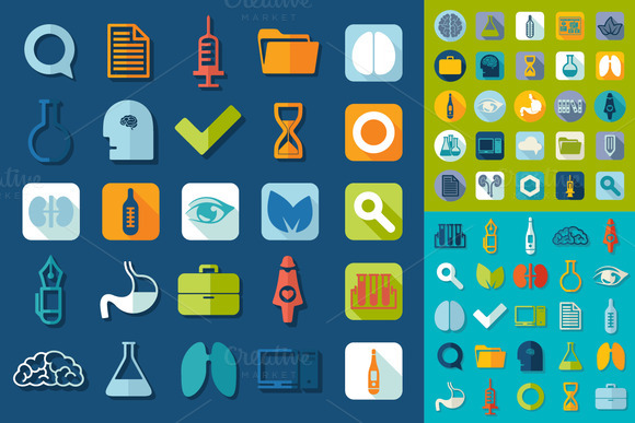 9 Sets Of Medical Flat Icons