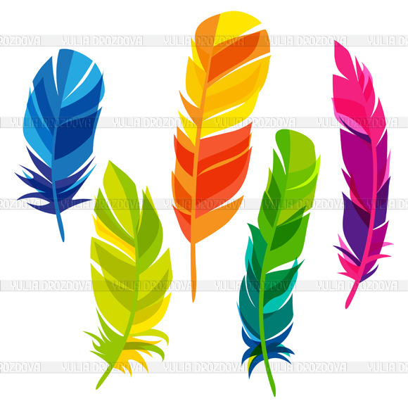 Set Of Abstract Feathers