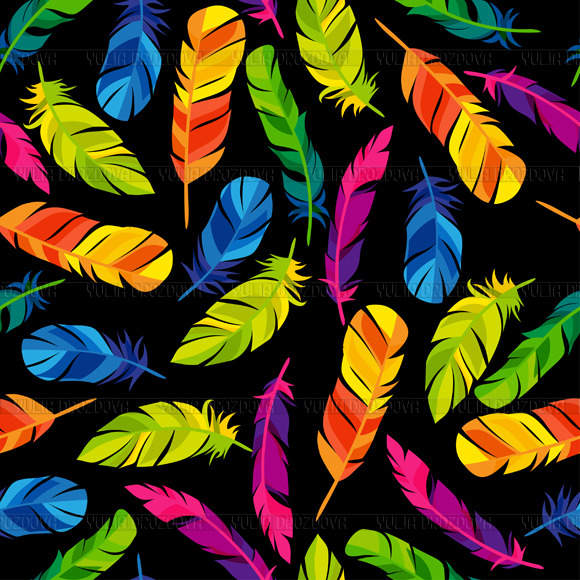Colorful Seamless Patterns Feathers