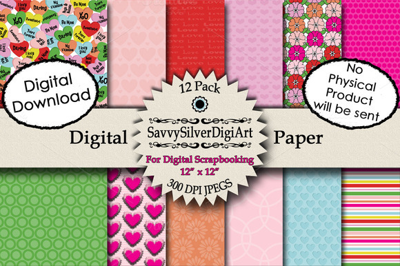 Digital Heart Paper Valentines Day