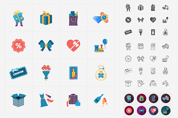Gift Flat Shop Icon Set