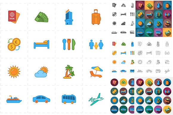 16 Flat Travel Company Icons