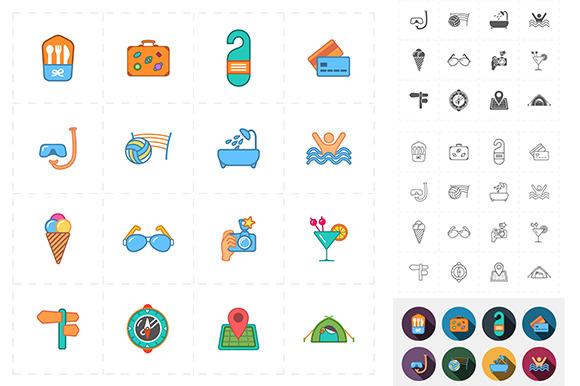 16 Flat Travel Icons