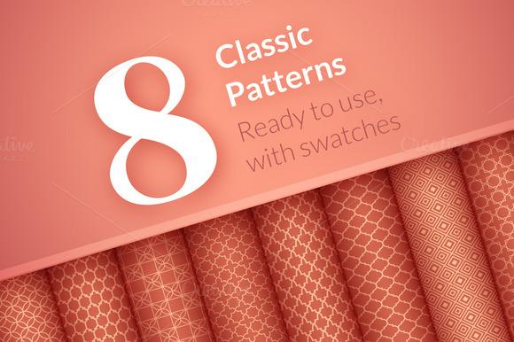 8 Seamless Classic Patterns Set