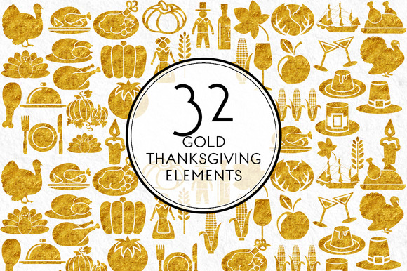 Gold Thanksgiving Elements