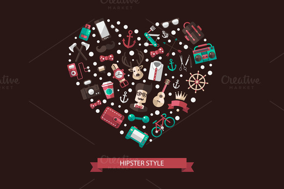 Hipster Style Heart Composition