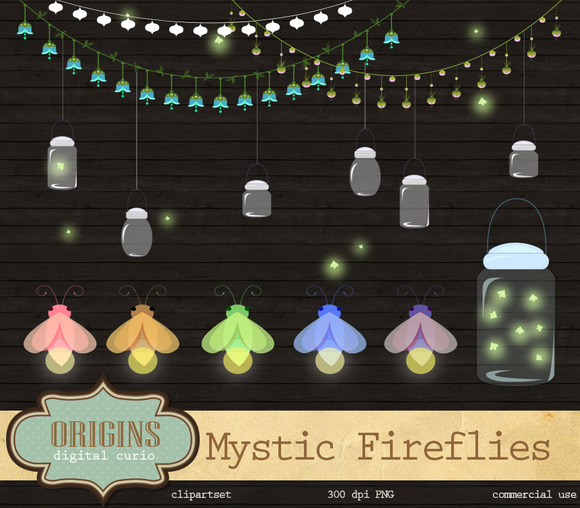 Mystic Fireflies Vector Clipart