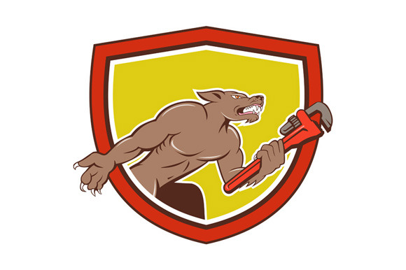 Wolf Plumber Monkey Wrench Shield Ca