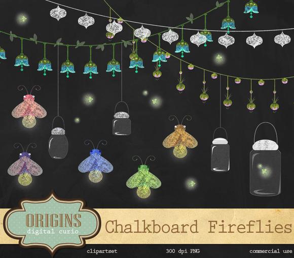 Chalkboard Fireflies Clipart