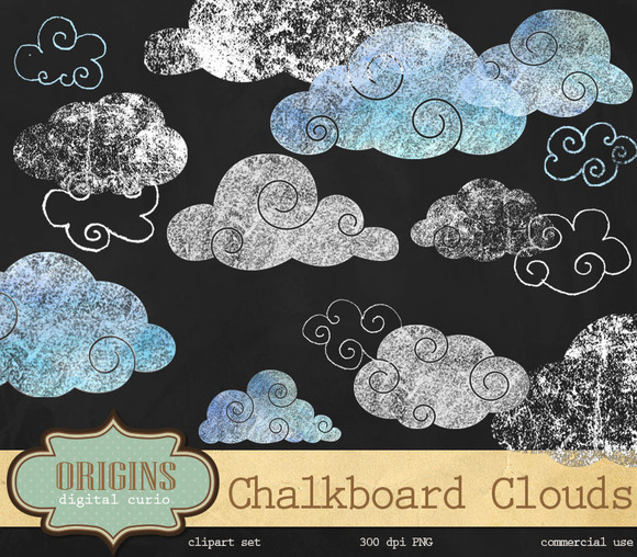 Chalkboard Clouds Clipart