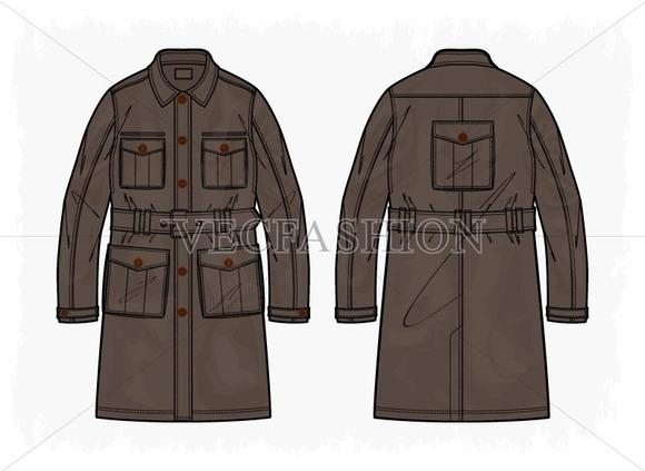 Men Cargo Coat Vector Clothing