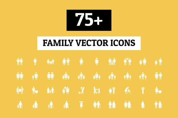 75 Family Vector Icons