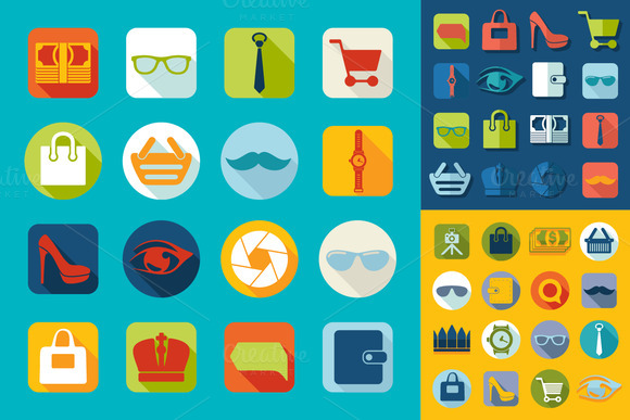 9 Mini Sets Of Fashion Flat Icons