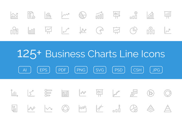 125 Business Charts Line Icons