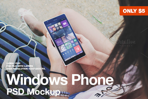 Windows Phone PSD Mockup