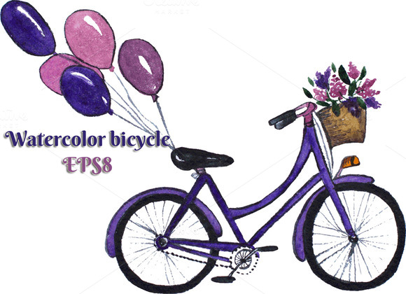 Bicycle With Basket And Balloons