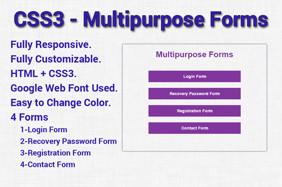 CSS3 Multipurpose Forms