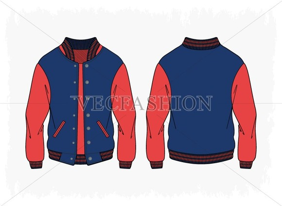 Women Sport Varsity Jacket Vector