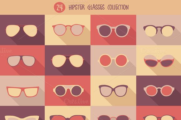 Set Of 24 Hipster Glasses